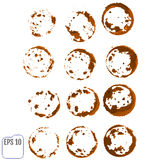 Vector set of traces of a coffee cup. Splashes and traces of cof Stock Photos