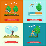 Vector set of track and field athletics, flat design. Vector set of track and field athletics. Steeplechase, high jump, javelin throw and hammer throw. Male and royalty free illustration