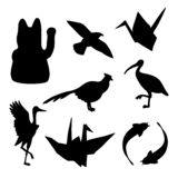 Set of traditional japanese animals silhouettes royalty free illustration
