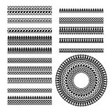 Vector set with traditional indian geometric ornamental brushes stock illustration