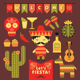 Vector set with traditional Mexican symbols. Royalty Free Stock Image