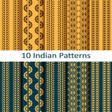 Vector set with traditional seamless vector indian patterns royalty free illustration
