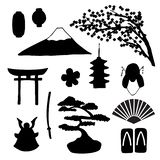 Vector set of traditional japanese simbols silhouettes royalty free illustration