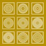Vector set Traditional vintage golden square and round Greek ornament Meander border greece gold Stock Image