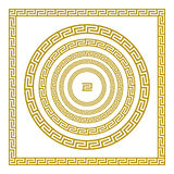 Vector set Traditional vintage golden square and round Greek ornament Meander border greece gold. Art Royalty Free Stock Photo