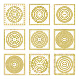 Vector set Traditional vintage golden square and round Greek ornament Meander border greece gold Stock Photography