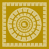 Vector set Traditional vintage golden square and round Greek ornament Meander and floral pattern on a black background. Art Stock Photo