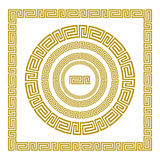 Vector set Traditional vintage golden square and round Greek ornament Meander and floral pattern on a black background Stock Photos