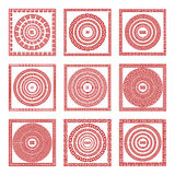 Vector set Traditional vintage golden square and round Greek ornament Meander pattern on a red background greece art Stock Image
