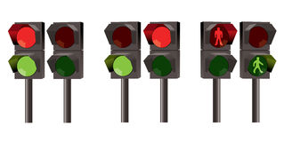Vector set of traffic lights Stock Photo