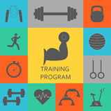 Vector Set of training program icons. Sport, fitness, gym workout Royalty Free Stock Image