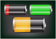 Vector set of transparent battery illustration. Green, orange and red battery on dark background Royalty Free Stock Photos