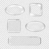 Vector set of transparent glass buttons. White Stock Photos