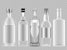 Vector set of transparent glass vodka alcohol. Bottle with caps for wine mockup ready for your design Royalty Free Stock Photography