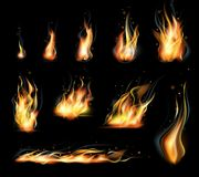 Vector  set of transparent realistic flame effects. Black background. Vector  set of transparent realistic flame effects. Fire illustration, candle light Stock Photo