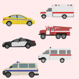 Vector set of the transport icons. Vector set of the isolated transport icons. Fire truck, ambulance, police car, taxi vector illustration