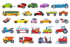 Vector set of transport vehicles illustrations. Royalty Free Stock Image