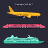 Vector set of transportation icons in flat style. Plane, train and ship logos set. Travel infographics illustrations. Stock Photos