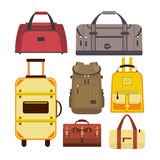 Vector set of travel bags. Illustration with different types luggage icons isolated on white background Stock Photography