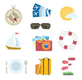 Vector set of travel icons on white. compass, airplane tickets Stock Photo