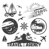 Vector set of travel and transportation labels in vintage style.   Stock Photos