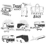 Vector set of travel and transportation labels in vintage style. Bus company, plane, bags illustration. Design elements Stock Photos