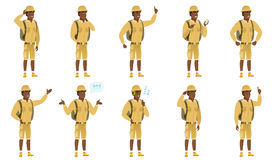 Vector set of traveler characters. African-american traveler showing a direction. Full length of traveler pointing at something and showing a direction by his Stock Photo