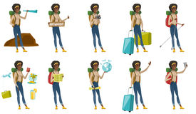 Vector set with traveler characters. Royalty Free Stock Images