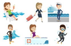 Vector set of traveling people. Stock Photo
