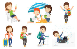 Vector set of traveling people. Royalty Free Stock Photo