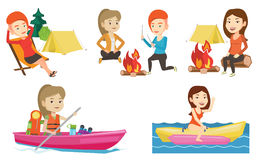 Vector set of traveling people. Stock Image