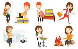 Vector set of traveling people. Royalty Free Stock Photography