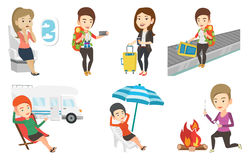 Vector set of traveling people. Royalty Free Stock Image