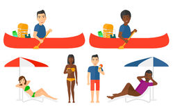 Vector set of traveling people. Royalty Free Stock Images