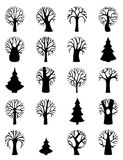 Vector set of tree symbols. Stock Images