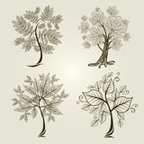 Vector set of trees Stock Photo