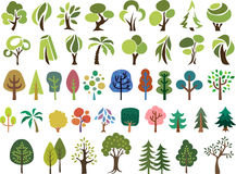Vector set of trees in different stlye