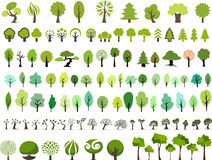 Vector set of trees with different stlye. In white background stock illustration