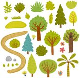 Forest collection vector set of trees. Stock Images