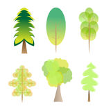 Vector set of 6 trees logo with different styles shapes. Vector set of trees with different styles isolated on white background. Ideal for logo, logotype, symbol Royalty Free Stock Images
