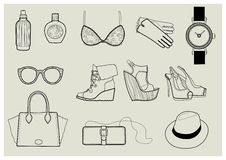 Vector set of trendy fashion illustration Royalty Free Stock Images