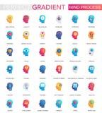 Vector set of trendy flat gradient Mind brain process icons. Vector set of trendy flat gradient Mind brain process icons vector illustration