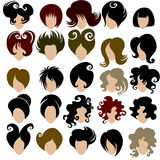 Vector set of trendy hair styling for woman Royalty Free Stock Photos