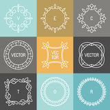 Vector set of trendy logo design elements. In mono line style - hipster frames and backgrounds Stock Photos