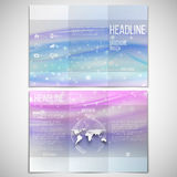 Vector set of tri-fold brochure design template on. Both sides with world globe element. Abstract blue wave, light style background Stock Image