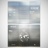 Vector set of tri-fold brochure design template on. Both sides with world globe element. Abstract blurred natural background. Summer vector pattern Stock Image