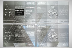 Vector set of tri-fold brochure design template on both sides with world globe element. Abstract blurred vector Royalty Free Stock Photos