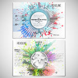 Vector set of tri-fold brochure design template on. Both sides with world globe element. Abstract circle white banners, watercolor stains and vintage style star Royalty Free Stock Photos