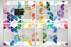 Vector set of tri-fold brochure design template on both sides with world globe element. Abstract colorful business Stock Photography