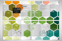 Vector set of tri-fold brochure design template on both sides with world globe element. Abstract colorful business Royalty Free Stock Image